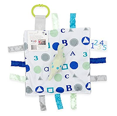 "Baby Sensory, Educational & Teething Closed Ribbon Tag Lovey Blanket with Security Plush: 10""X10"" (Blue Dino)"