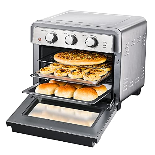 Air Fryer Toaster Oven - 1829 CSS 6-in-1 Stainless Steel AirFryer Combo, Convection Ovens Hot Air Fryers Oven, Countertop Oven AirFryers Combo, 23QT Pizza Oven with Recipe, 5 Accessories, 1700W