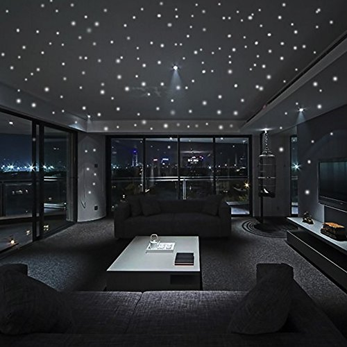FeiliandaJJ 2 Set 407Pcs Wandaufkleber Fluoreszenz Punkt Mond Star Leuchtend Wallpaper Wandsticker Dekoration für Babyzimmer Kinderzimmer Dekor (Grün)