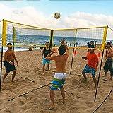4面バレーボールネットセット屋外裏庭バレーボールネット屋外バレーボールネットシステムポータブルビーチバレーボールネットランダムカラー