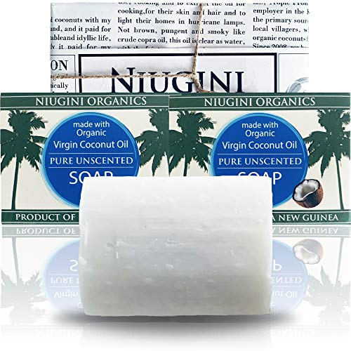 2 x Le Savon Le Plus Pur du Monde NIUGINI ORGANICS | Savon à la noix de coco | Fabriqué à base d'huile de noix de coco biologique | Inodore, 2 x 100g | SANS HUILE DE PALME