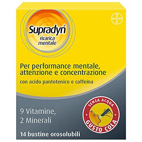 Supradyn Ricarica Mentale Integratore Alimentare Multivitaminico con Vitamina C, Vitamine B, Magnesio, Zinco, Caffeina, Gusto Cola, 14 Bustine Orosolubili