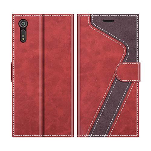 MOBESV Handyhülle für Sony Xperia XZ Hülle Leder, Sony Xperia XZ Klapphülle Handytasche Case für Sony Xperia XZ Handy Hüllen, Modisch Rot