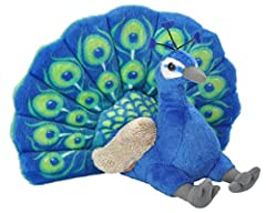 Meet your new pretty Peacock stuffed animal best friend, that's ready to put some color into your life. Smiles from all ages emerge when this Peacock plush toy is front and center, the temptation to touch one is irresistible. The wingspan on this stu...