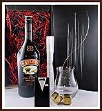 Geschenk Baileys Original Irish Cream Likör mit Glas + 2 Edelstahl Kühlsteine goldfarbend im...