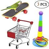 Acidea 3PCS Parrot Toys Mini Shopping Cart Training Rings Skateboard Stand Perch for Budgie Parakeet Cockatiel Conure Lovebird