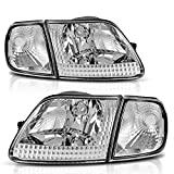 AUTOSAVER88 Headlight Assembly Compatible with 97-03 Ford F-150/97-02 Ford Expedition Pickup Headlamp Replacement Chrome Housing Clear Lens