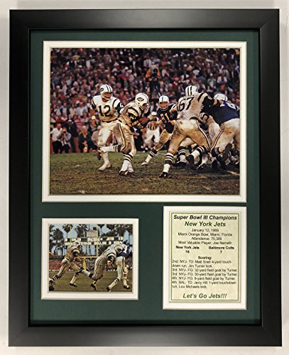 """Legends Never Die NFL 1968 New York Jets Super Bowl III Champions Framed Double Matted Photos, 12"""" x 15"""""""