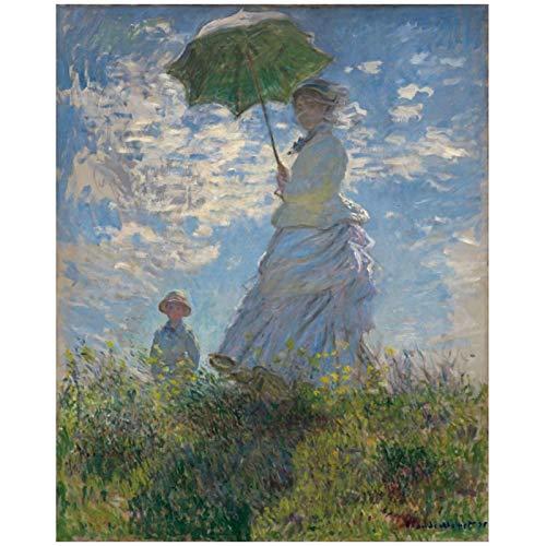 Pintura de pared para el hogar Camille Monet y su hijo Jean en la colina para lienzo arte de pared pintura decoración del hogar-28x32 pulgadas sin marco
