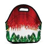 Bolsa de almuerzo de neopreno, diseño navideño, con fondo de Papá Noel Rudolph con imagen de festival anual de Papá Noel, rojo, verde y blanco, juego de bolsa de almuerzo para niños