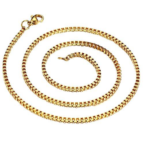 ネックレスチェーン ゴールド 金色 4mm ベネチアンステンレスチェーン 95cm メンズ チョーカー ペンダント シンプル 鎖 首飾り 首輪 太い 太め キューブ 四角形
