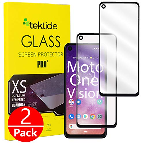 Tektide Screen Protector Compatible for Moto One Action/One Vision, [Full Glue Full Cover] Drop-Protection Shatter-Proof Safety Laminated Tempered Glass Screen Cover/Display Shield [2 Pack]