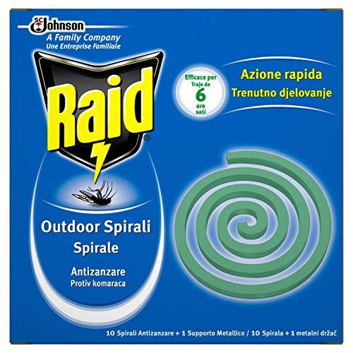 Raid Spirali Antizanzare con Supporto Metallico - 6 confezioni da 10 pezzi [60 pezzi]