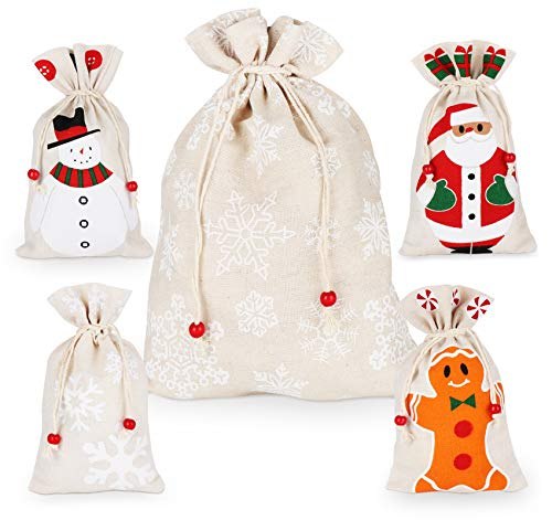 Weihnachten Beutel Geschenkverpackung Tüten, 5PCS Weihnachten Säckchen, Weihnachtsmann Sack in zwei Größen für Süßigkeits Geschenke Dekorationen, Schneeflocken, Lebkuchenmann, Schneemann