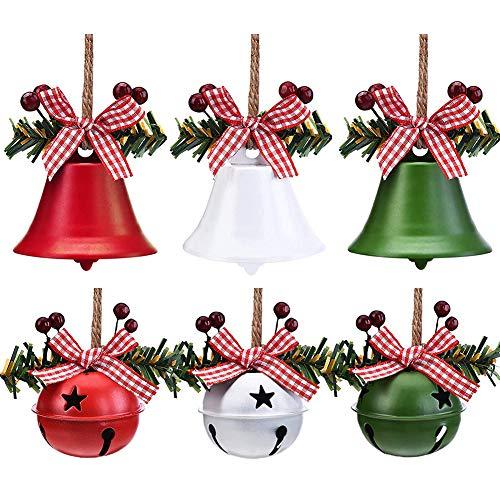 YUIP 6 Pezzi Ciondolo Decorazione Campana Natalizia, Ornamenti Tradizionali Dell'albero di Natale, Ornamento Campana Artigianale in Metallo per Forniture per Decorazioni per Feste di Natale