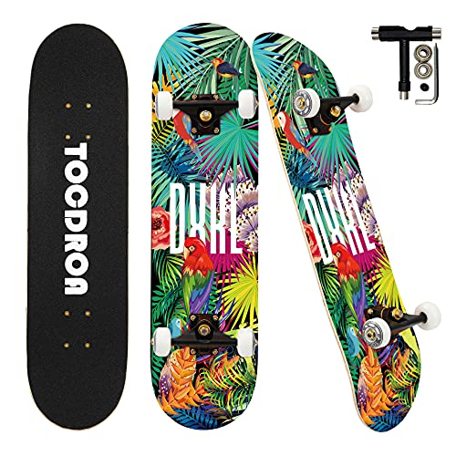 Skateboards for Beginners, KUZOO Complete Skateboard 31 x 8, 7 Layer Canadian Maple Double Kick Concave Standard and Tricks Skateboards for Kids and...