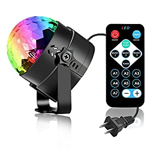 Party Lights Disco Light, Spriak Sound Activated Dj Stage Strobe Light, 7 Colors with Remote Control Disco Ball Lamps for Birthday Dance Home KTV Christmas Halloween Parties (1 Pack)