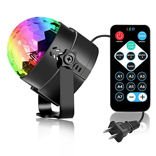 Party Lights Disco Light, Spriak Sound Activated Dj Stage Strobe Light, 7 Colors with Remote Control Disco Ball Lamps for Birthday Dance Home KTV Christmas Parties (1 Pack)