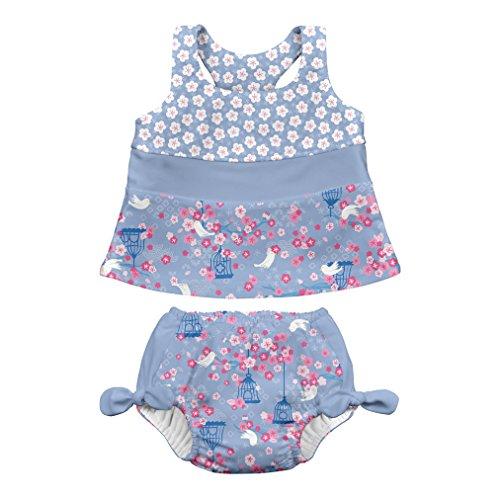 i play. by green sprouts Zweiteiliger Tankini mit Druckknopf, wiederverwendbare Schwimmwindel   Baby Mädchen Badeanzug   leicht, patentiertes Design - Blau - 24 Monate