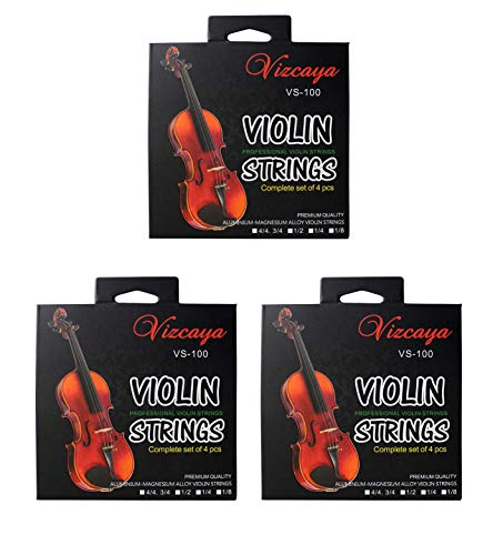 Vizcaya Universal 3 Full Sets Violin Fiddle Violin String (G-D-A-E) for 4/4-3/4,1/2,1/4 Size Beginner,Student Violin Replacement-3 pack