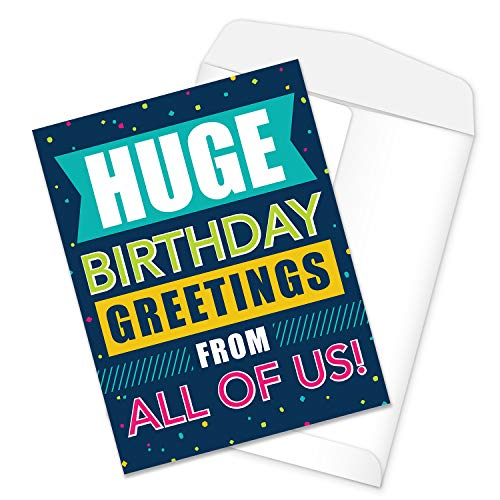 Big Birthday Card from all of Us / 8.5 x 11 Large Greeting Card