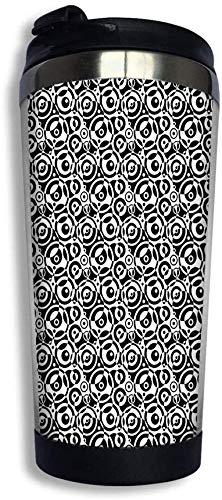 MeTaa Becher 14 oz (400 ml) Edelstahl Kaffeetasse Reisebecher, 50er Jahre 60er Jahre alte Pop-Art Retro Vintage Polka Dots Runden Kreise Dekor Kunstdruck