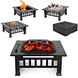 HEMBOR 32' Outdoor Fire Pit Table with Grill, Wood Burning Fireplace Bowl, Multi-Function Square Stove, w/Spark Screen, Poker, Rainproof Cover for Picnic, Camp, Bonfire, BBQ, Patio, Backyard, Party