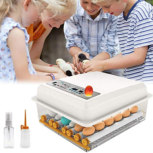 PAKASEPT Inkubator, Vollautomatische Brutmaschine 16 Eier, Brutapparat mit LED Temperaturanzeige und Präzieser Temperaturfühler, Temperatur, für für Chicken Duck Bird Quail