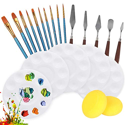 FULANDL 22PCS Paint Brushes Set, Including 10 Round Pointed Tip Paintbrushes, 5 Paint Tray Palettes, 5 Palette Knife and 2 Sponges, Painting Tool Set for Acrylic Oil Watercolor Craft Art Painting