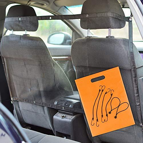 Rete Auto per Cani Universale. Divisorio Auto per Cani Che Permette Il Trasporto del Cane. Contenuto: 1 Griglia Separatore per Auto di 115x62cm, 6 Ganci, Borsetta TNT