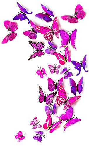 MissBirdler 24 Stk. Schmetterlinge 3D Effekt Kühlschrank Magnet Wandtattoo Lila-Pink Wand Fenster Aufkleber Dekoration Einrichtung...