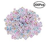 Supvox Cube Beads Square Bbeads DIY acrílico colorido alfabeto letra para la joyería haciendo DIY pulseras collares 6mm 200 unidades (blanco)