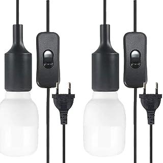 ALLOMN Cable Para luz Colgante, 2PCS E26/E27 Cable Colgante Lámpara de Techo Estilo Juego de Accesorios de Araña con Interruptor de Encendido/Apagado, Cable de 3 Metros Largo (Bombilla no Incluida)