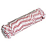 TrailMax Highline Rope for Securing 4-5 Horses in Your Back-Country Camp Or Around The Ranch, 100 Feet of 3/8' Multi-Filament Solid Braid Polypropylene Rope with Red Tracers