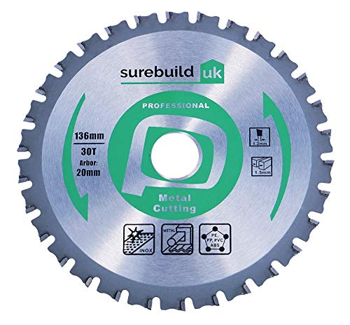 Surebuild UK 136mm x 20mm Bore, 30 Tooth TCT Metal Stainless Steel & Plastics Cutting Cordless Circular Saw Blade, SBB1363020