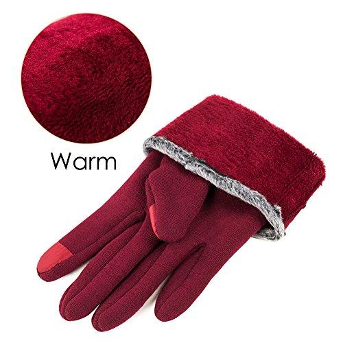 GLOUE Warm Winter Handschuhe Damen Touchscreen Handschuhe Kaschmir Drinnen Draußen Fahrradhandschuhe Motorradhandschuhe Mountainbike Handschuhe - 3