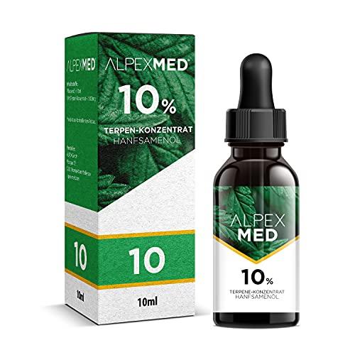 ALPEX-MED 10 Prozent Terpene mit Hanfsamenöl 10ml und Analysezertifikat. Die Tropfen enthaltenOmega Fettsäuren und Vitamin E in Premium Qualität