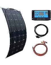 XINPUGUANG Kit de sistema de panel solar monocristalino de 100 W 200 W para 12 V, kit de bricolaje de batería para coche, caravana, barco, cargador