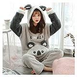 Fgolphd Pijamas Mujeres Pijadas Adult Animal Pijamas Set De Invierno Grueso Franela Cálida Anime Costas Costas Noche de Desgaste (Color : 2519, Size : XLage)