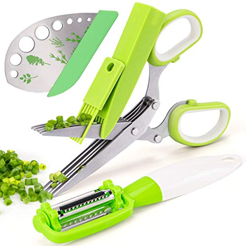VIBIRIT Herb Scissors Leaf Herb Stripper, Stainless Steel 5 Blade Kitchen Scissors, for Mince Chicken, Poultry, Fish, Meat, Vegetables, Collard Greens, Parsley, Rosemary Herb | Dishwasher Safe