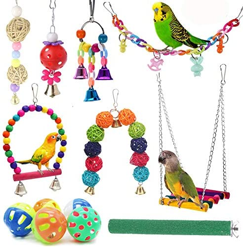 ICOSHOW 12 Packs Bird Toys Parrot Swing Toys Chewing Hanging Bell Pet Birds Cage Toys Suitable product image