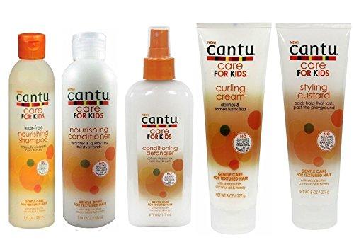 Cantu Pflege für Kinder Sanfte Pflege Shampoo, Spülung, Entwirrer, Locken- und Stylingcreme, 5 Stück