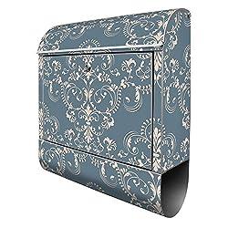 Banjado Design Briefkasten mit Motiv Royal Creme Blau | Stahl pulverbeschichtet mit Zeitungsrolle | Größe 39x47x14cm, 2 Schlüssel, A4 Einwurf, inkl. Montagematerial