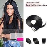 Extensiones Adhesiva de Pelo Natural Sin clip Hair Tape con 20 Unidades para Mujeres (50cm=25g) 1# Negro oscuro