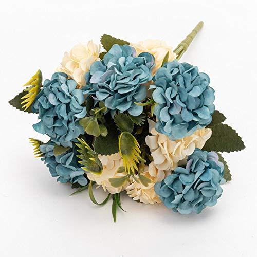 SSTony - Hortensias artificiales de seda, color blanco, azul, 1 PC