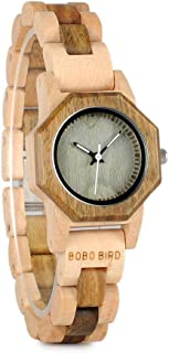 Women's 27MM Handmade Wooden Watch Exquisite Lightweight Wristwatch Natural Sandalwood with Bracelet Clasp Watches
