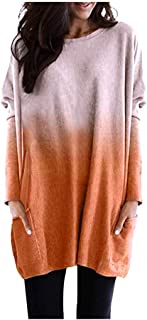 Xinantime Womens Loose Gradient T-Shirts Sweatershirt Casual Colorblock Long Sleeve Round Neck Blouse Top Tunic