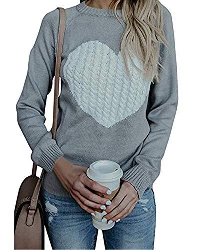 Damen Pullover Strick Winter Rundhals Langarm Loose Mode Freizeit Warmer Sweater Sweatshirt Oberteile (Medium, grau)