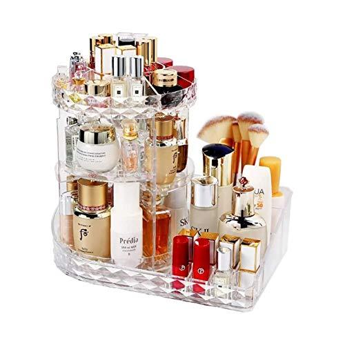 HLWAWA Organizador de Maquillaje, Premium 360 Grados Crystal Acrílico Acrílico Joyería Ajustable Pantalla de Perfume Cosmética Caja de Almacenamiento