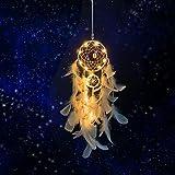 Wisdom1674 Atrapasueños Led, Atrapasueños con Luz LED Hecho a Mano Naturales Dreamcatcher Colgante con Pluma, Adornos Colgar Pared para Plumas...